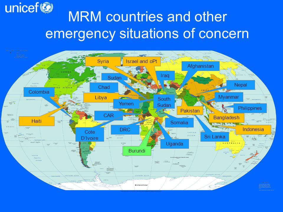 MRM countries and other emergency situations of concern