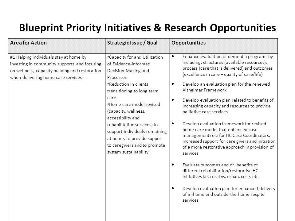 Blueprint Priority Initiatives & Research Opportunities ;