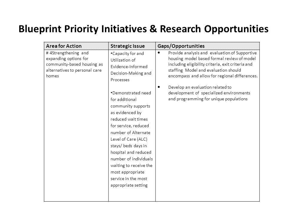 Blueprint Priority Initiatives & Research Opportunities