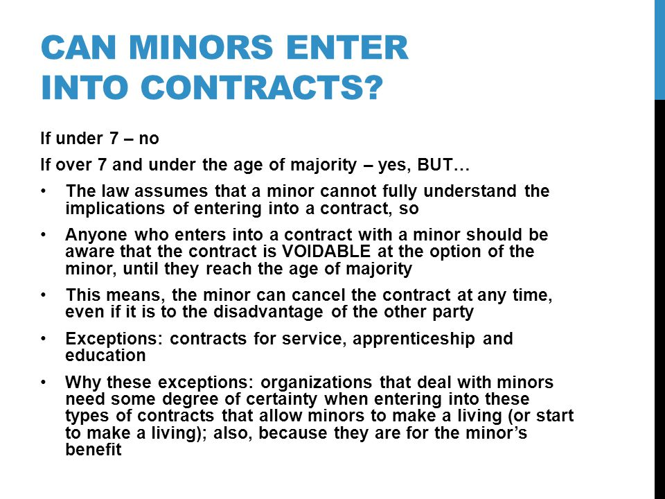 Can minors enter into contracts