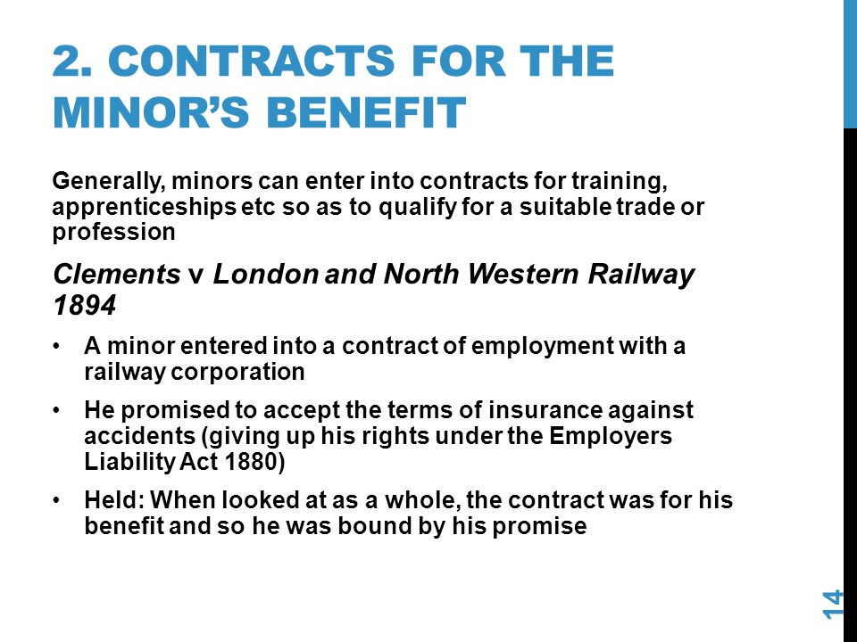 2. Contracts for the minor's benefit
