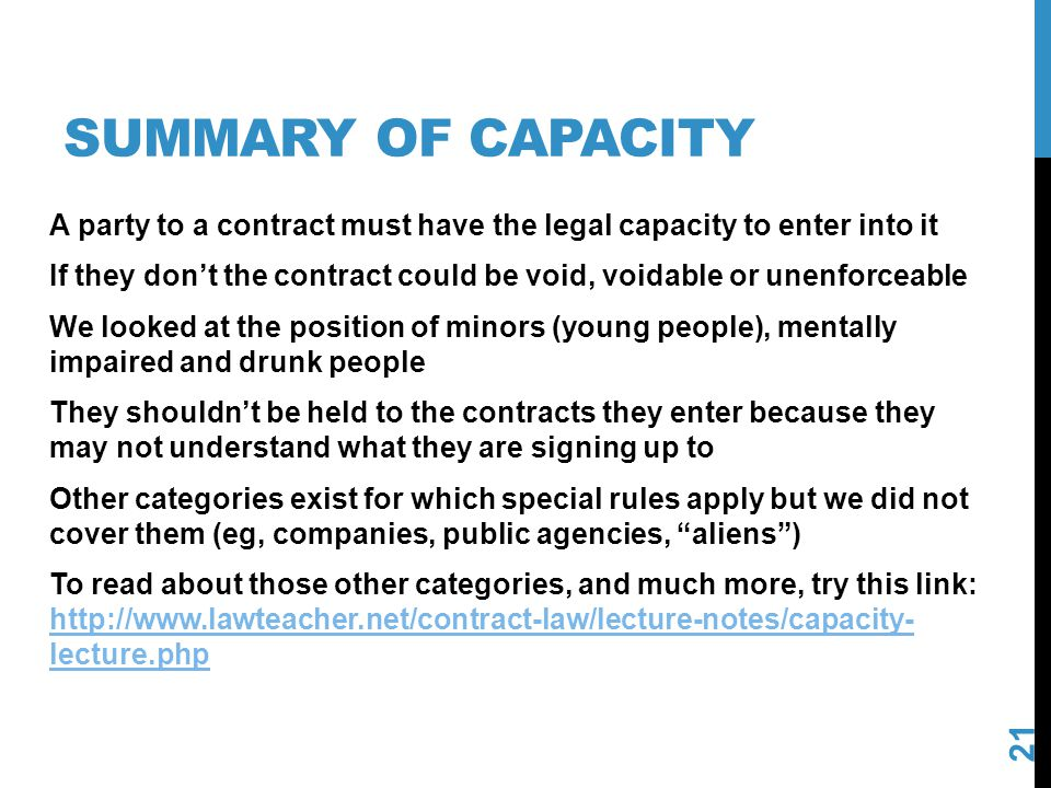 Summary of capacity