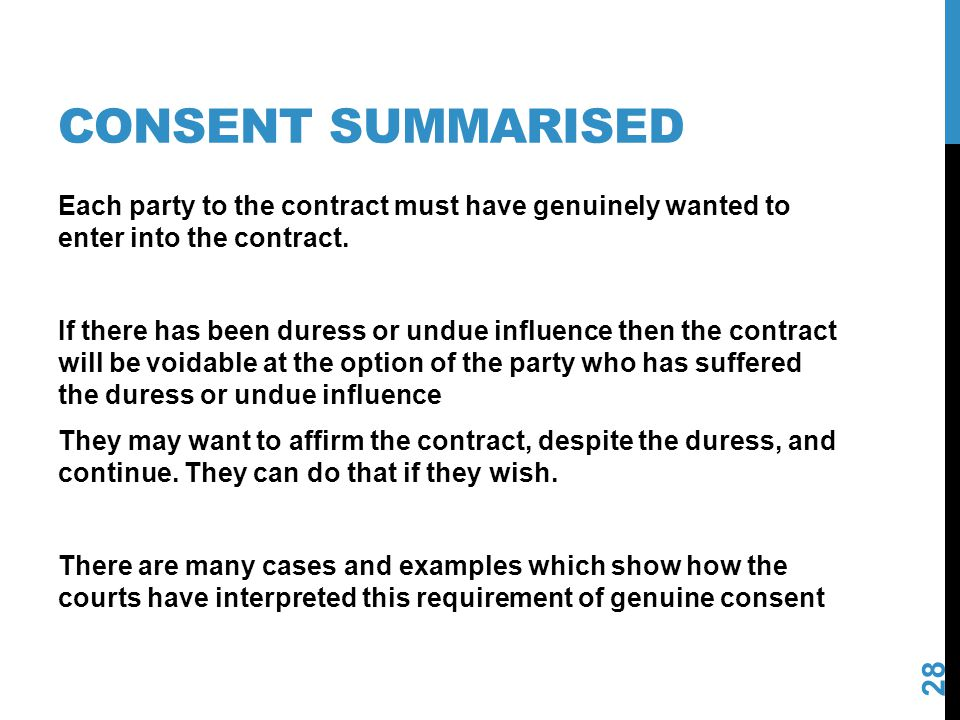 Consent summarised