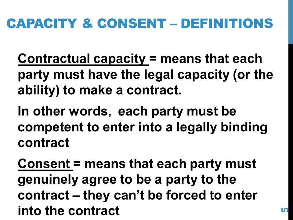 Capacity & consent – definitions