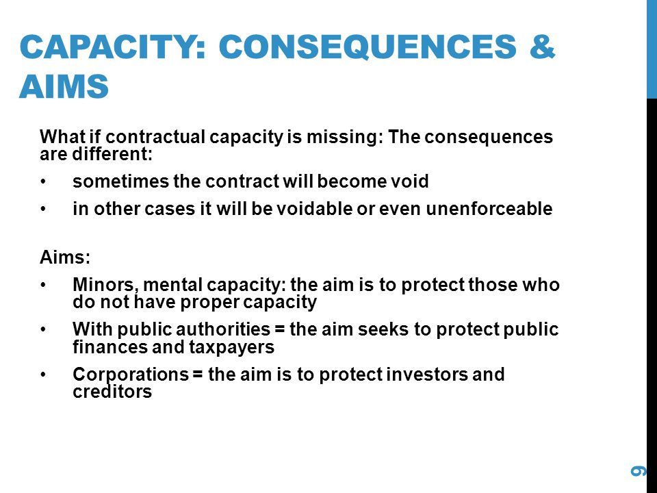 Capacity: consequences & aims