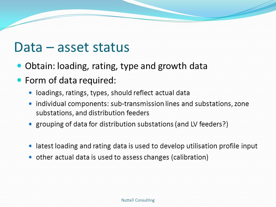 Data – asset status Obtain: loading, rating, type and growth data