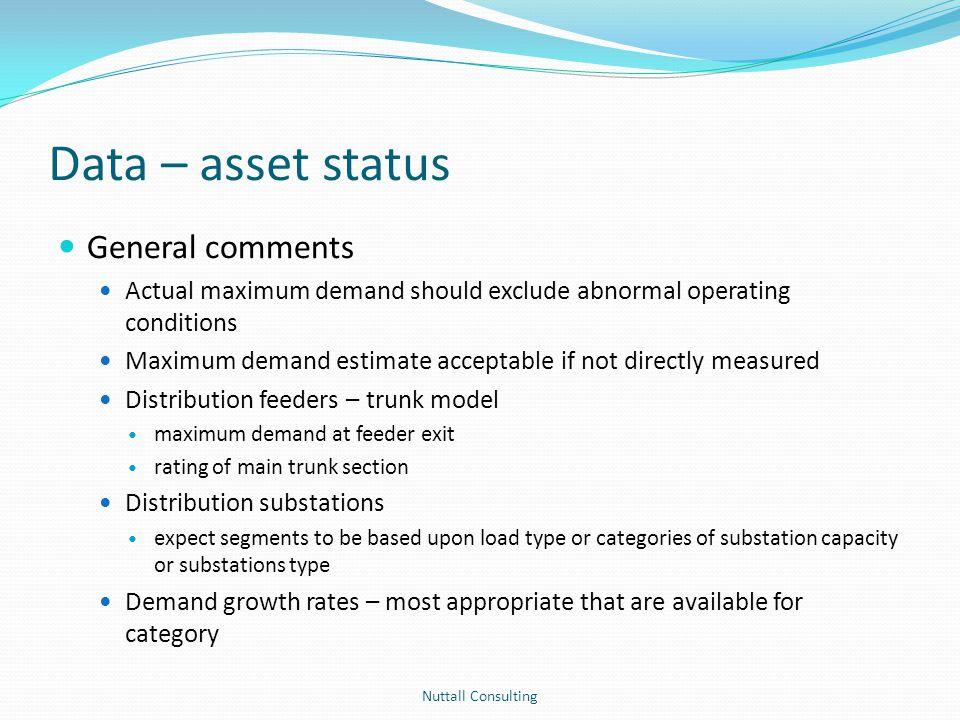 Data – asset status General comments