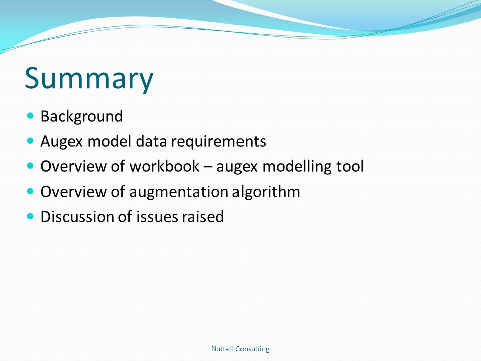 Summary Background Augex model data requirements