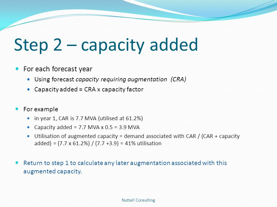Step 2 – capacity added For each forecast year