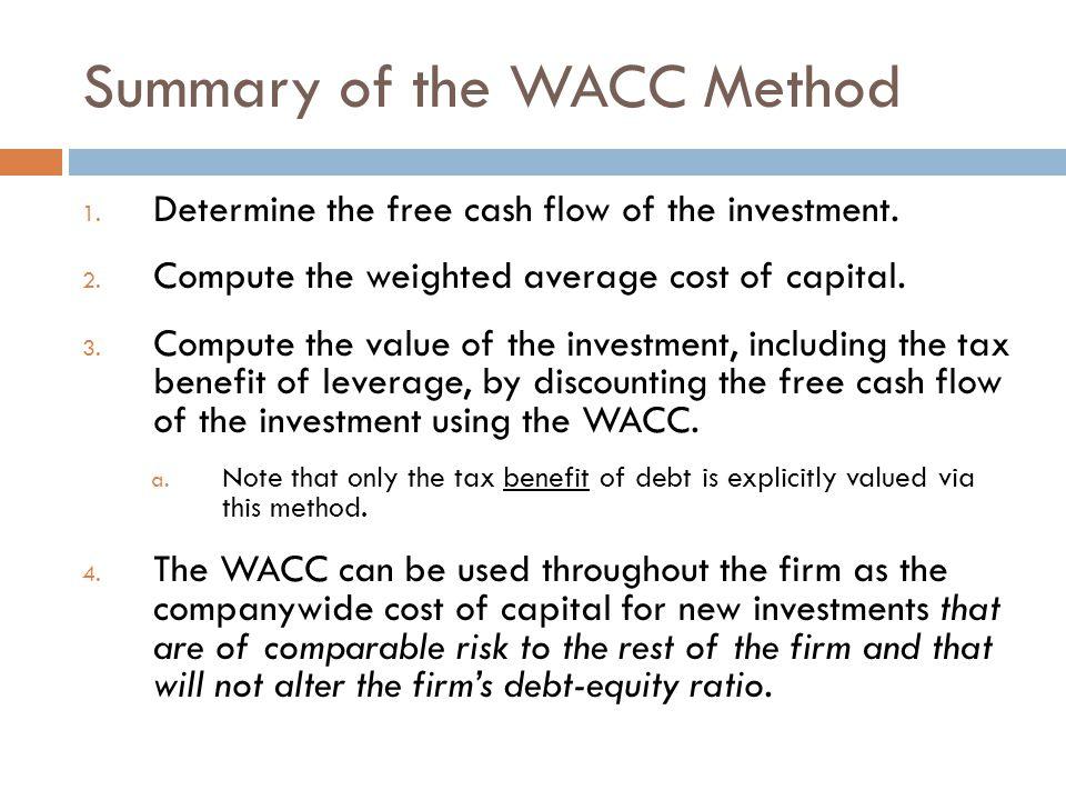 Summary of the WACC Method