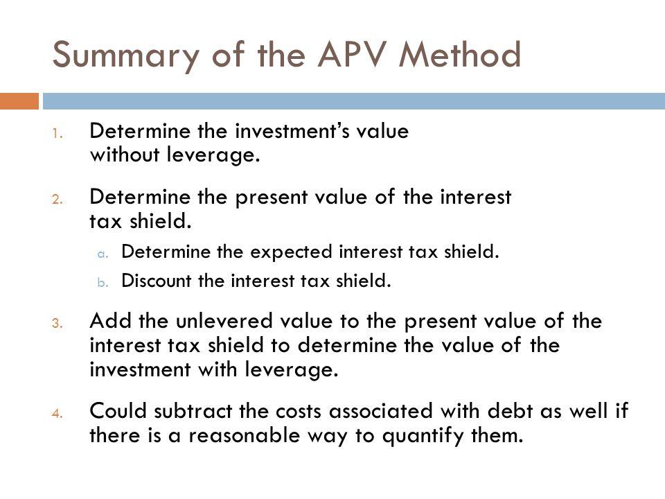 Summary of the APV Method