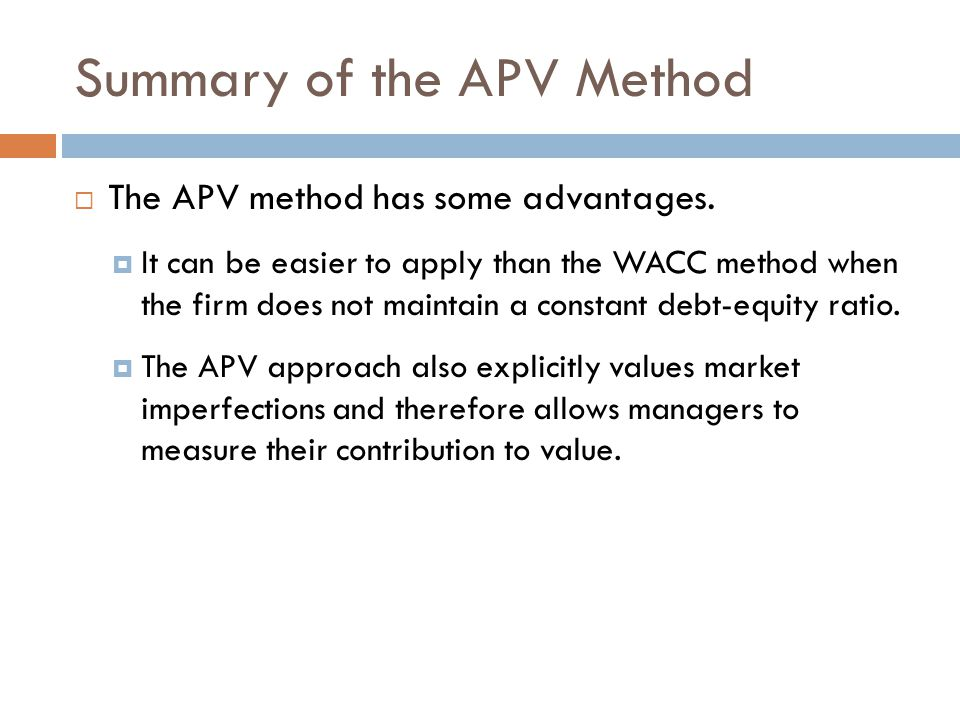 Summary of the APV Method