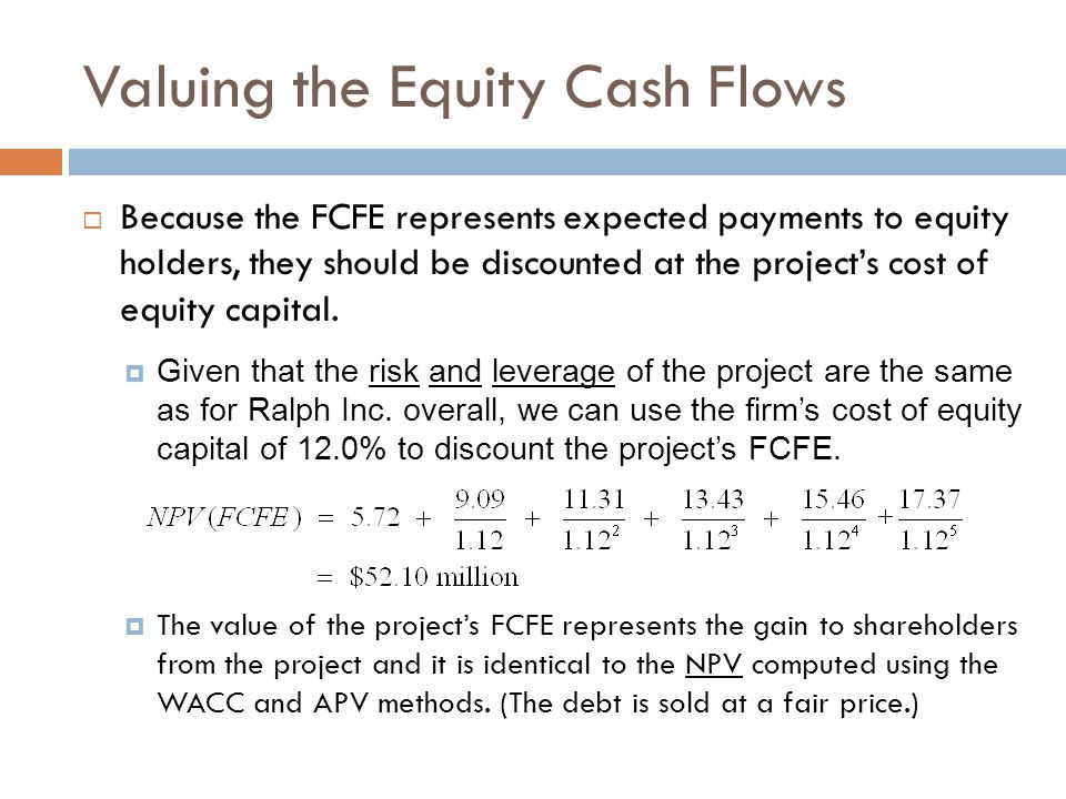 Valuing the Equity Cash Flows