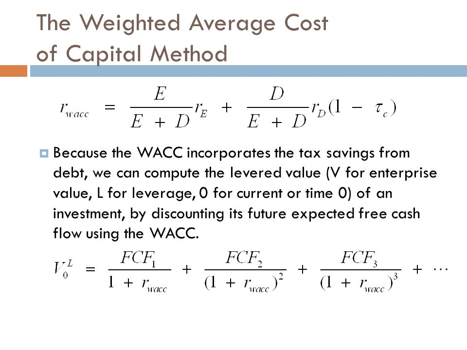 The Weighted Average Cost of Capital Method