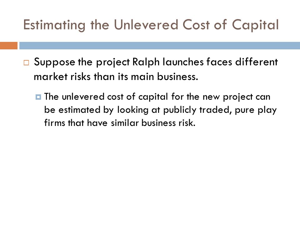 Estimating the Unlevered Cost of Capital