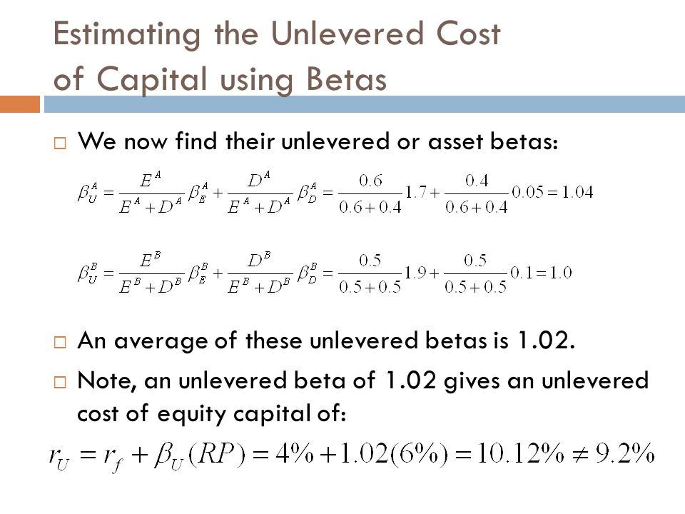 Estimating the Unlevered Cost of Capital using Betas