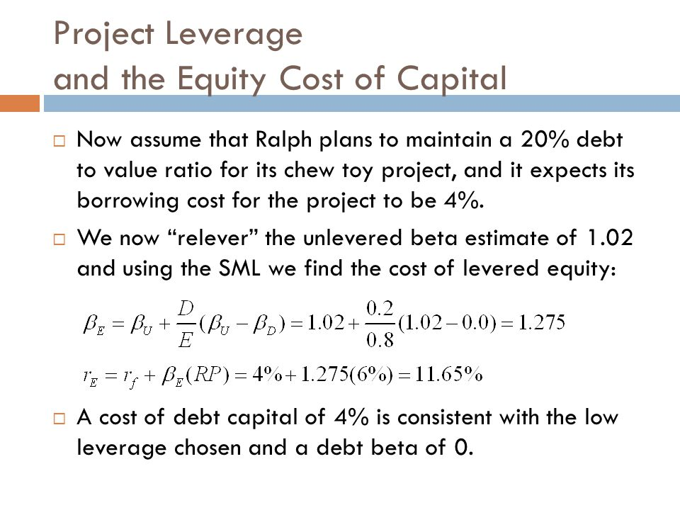 Project Leverage and the Equity Cost of Capital