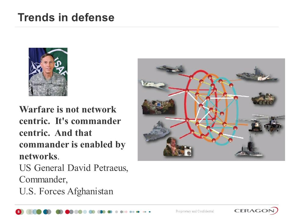 Trends in defense Warfare is not network centric. It s commander centric. And that commander is enabled by networks.