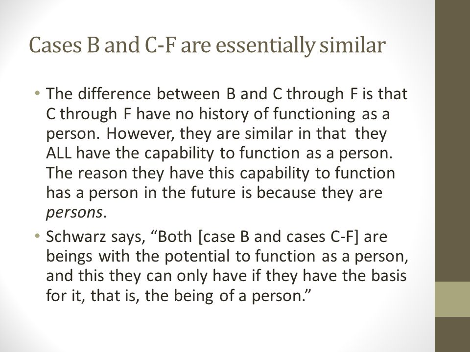 Cases B and C-F are essentially similar