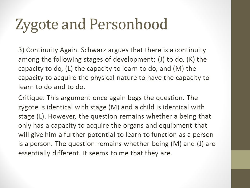 Zygote and Personhood