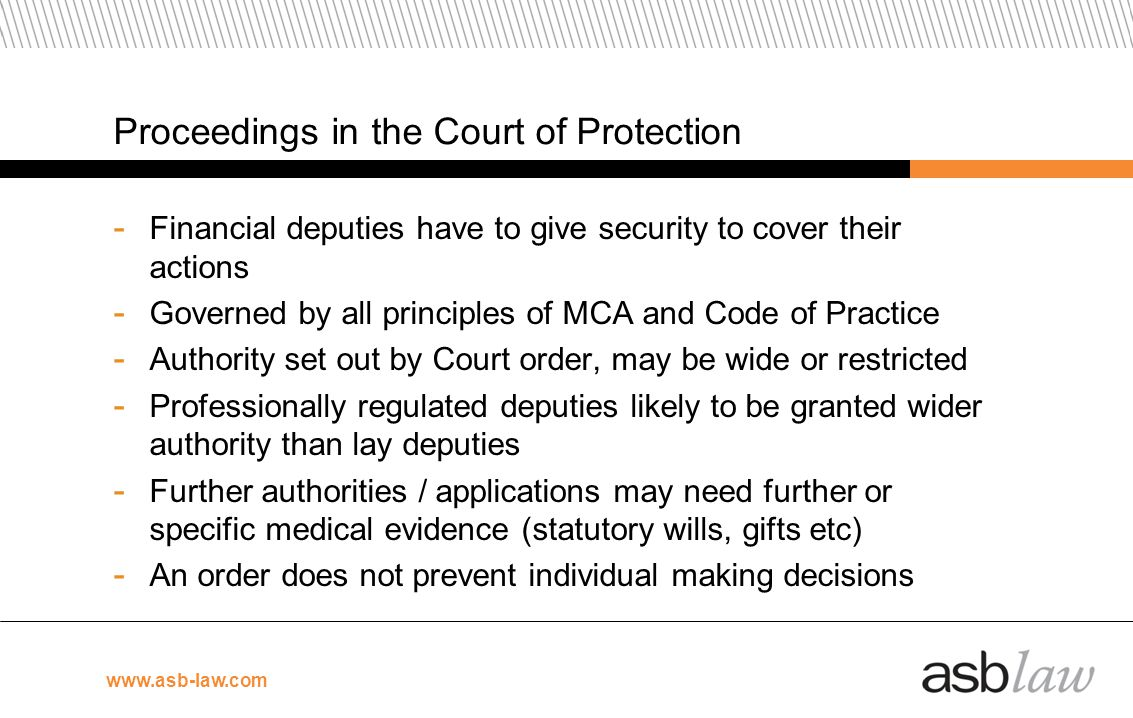 Proceedings in the Court of Protection