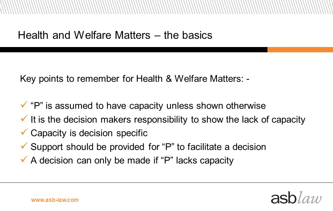 Health and Welfare Matters – the basics