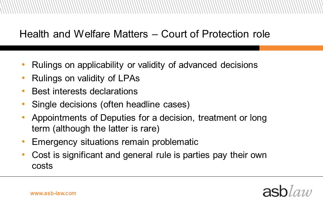 Health and Welfare Matters – Court of Protection role