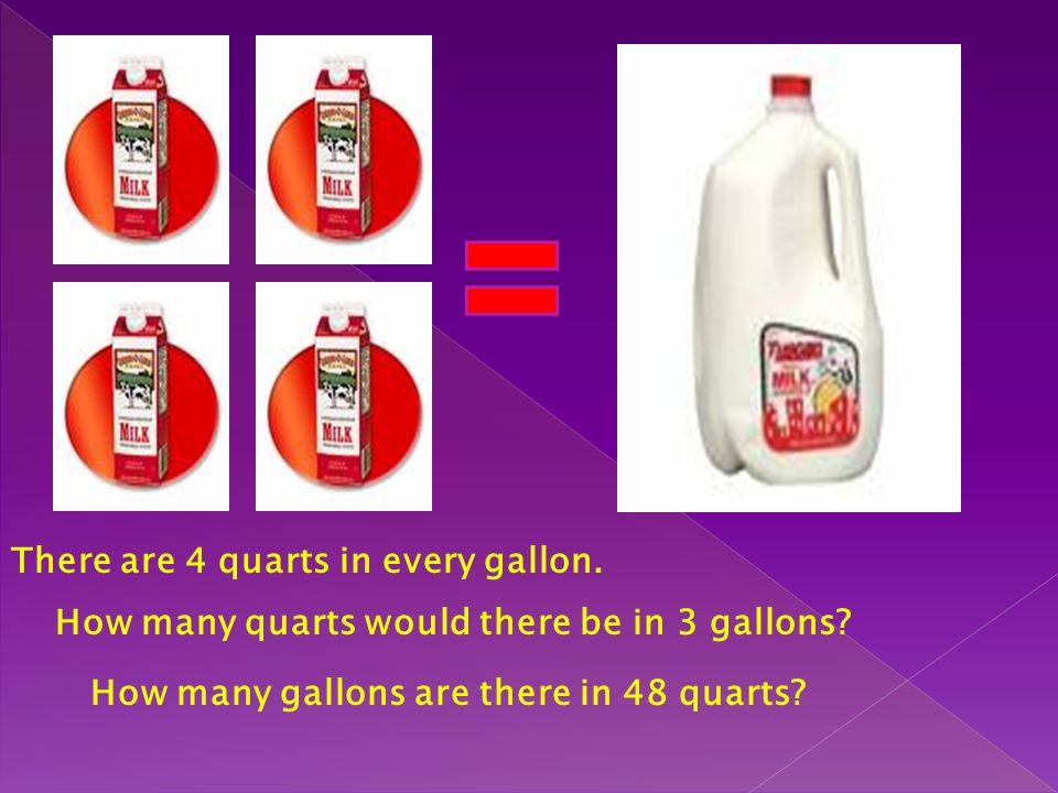 There are 4 quarts in every gallon.