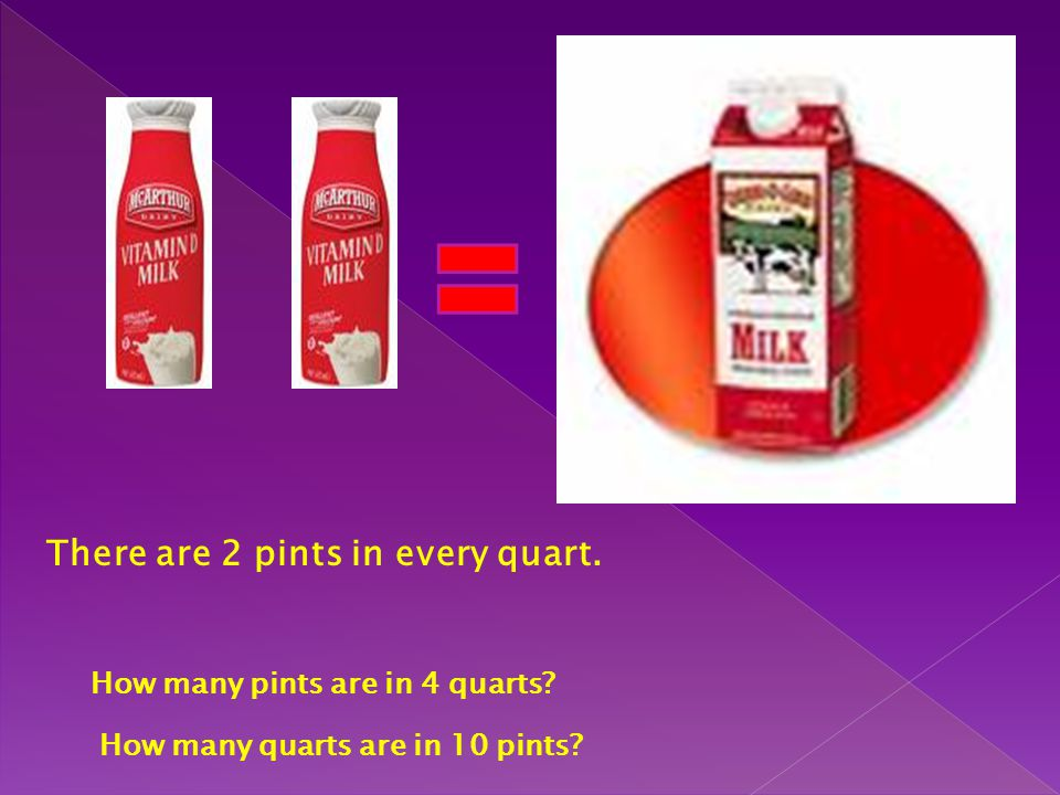 There are 2 pints in every quart.
