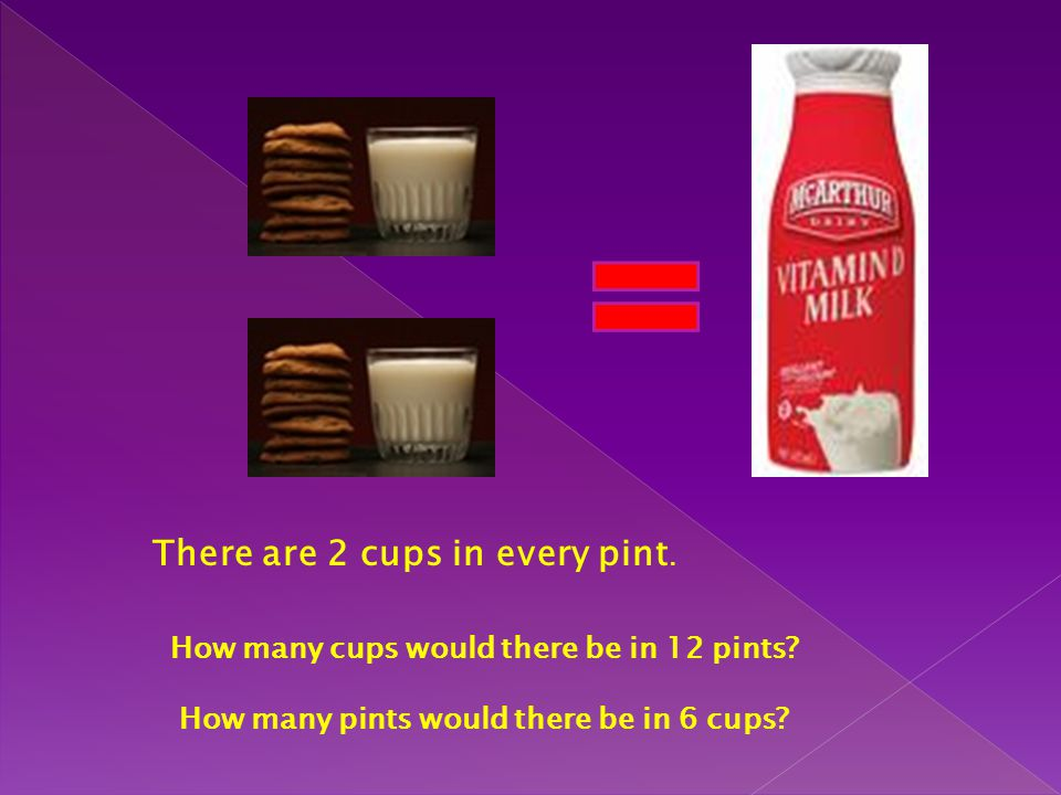 There are 2 cups in every pint.