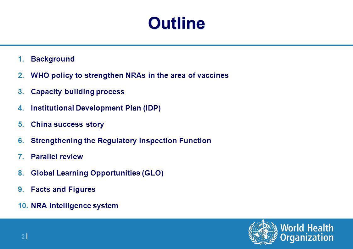 Outline Background. WHO policy to strengthen NRAs in the area of vaccines. Capacity building process.