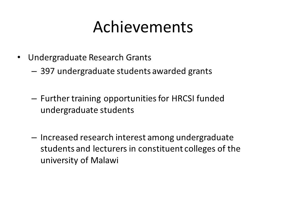 Achievements Undergraduate Research Grants
