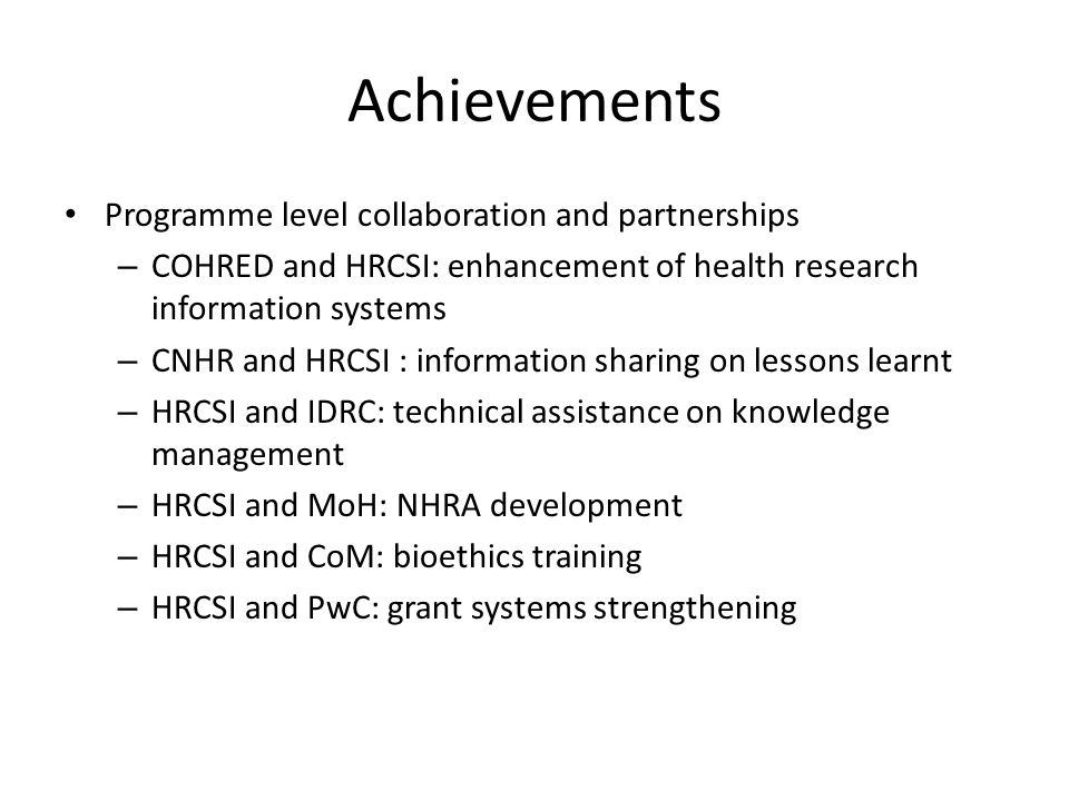 Achievements Programme level collaboration and partnerships