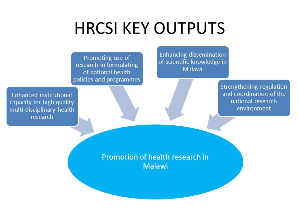 HRCSI KEY OUTPUTS Promotion of health research in Malawi