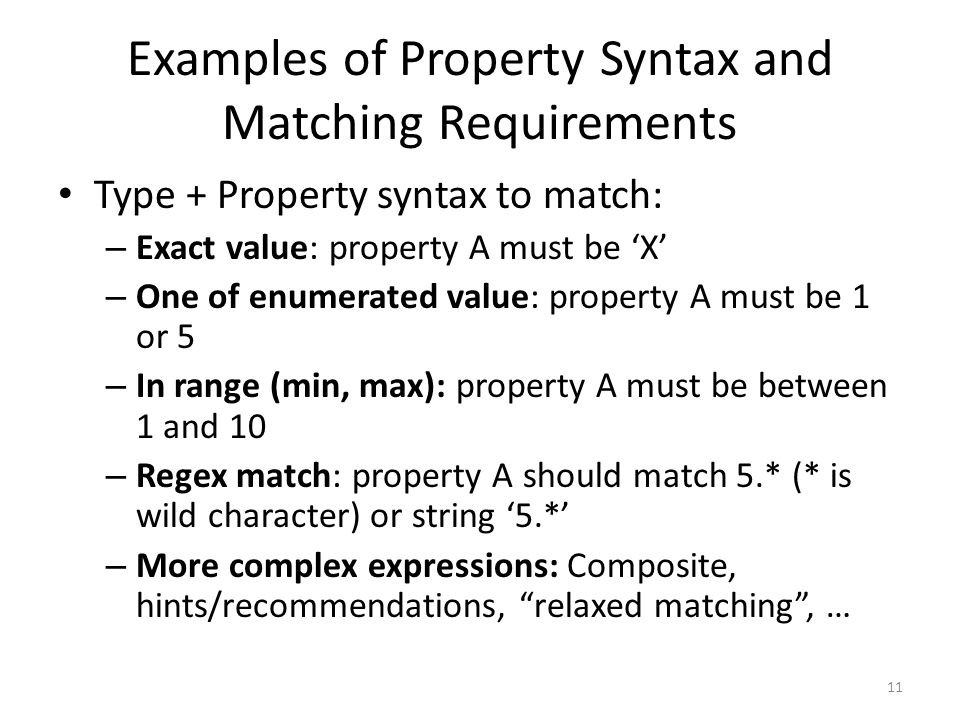 Examples of Property Syntax and Matching Requirements