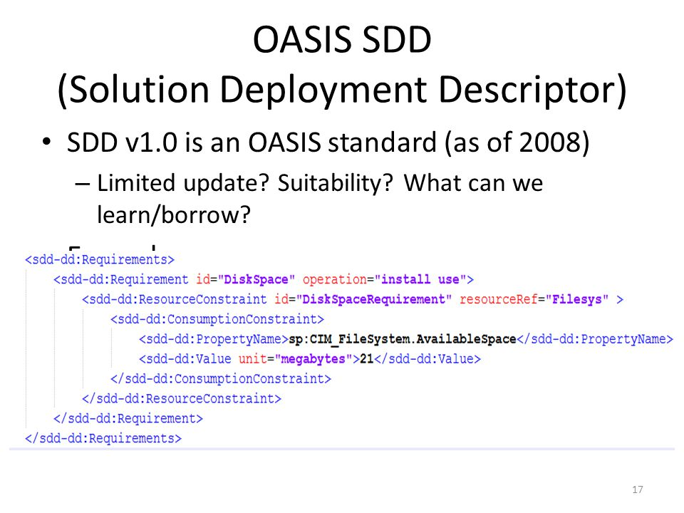 OASIS SDD (Solution Deployment Descriptor)