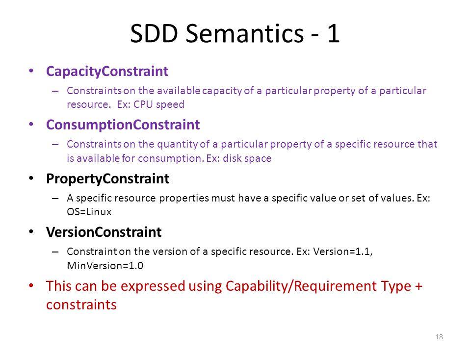 SDD Semantics - 1 CapacityConstraint ConsumptionConstraint