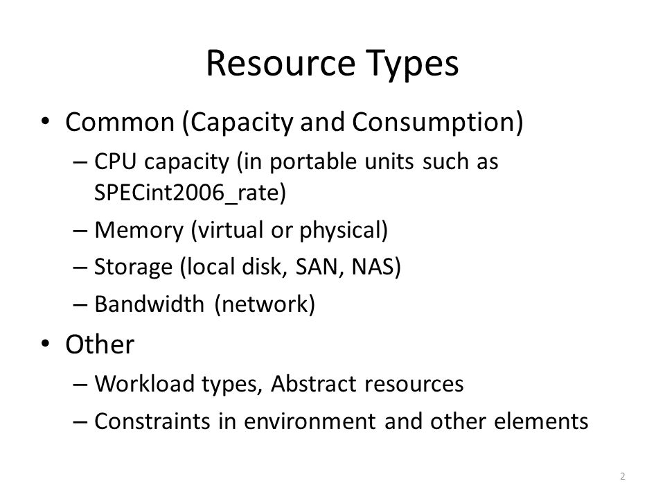 Resource Types Common (Capacity and Consumption) Other