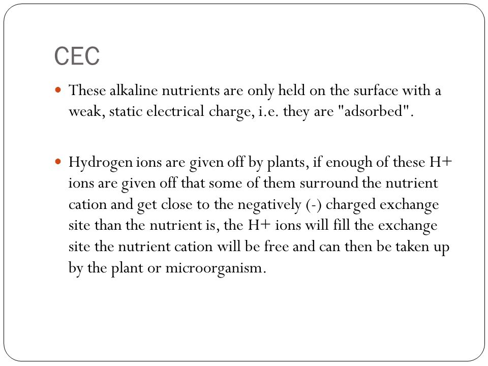 CEC These alkaline nutrients are only held on the surface with a weak, static electrical charge, i.e. they are adsorbed .