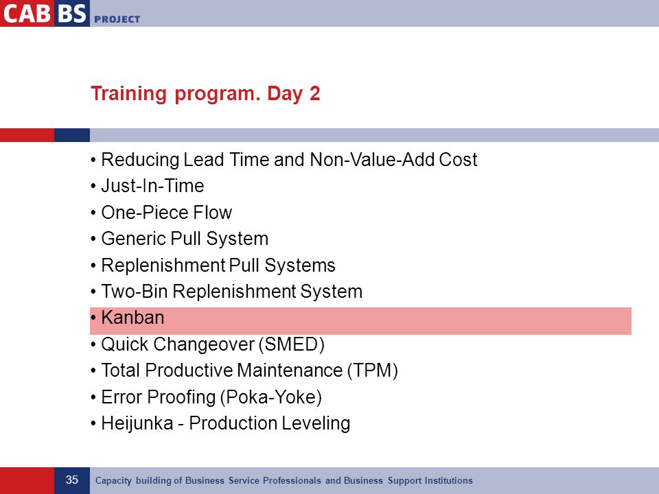 Training program. Day 2 Reducing Lead Time and Non-Value-Add Cost