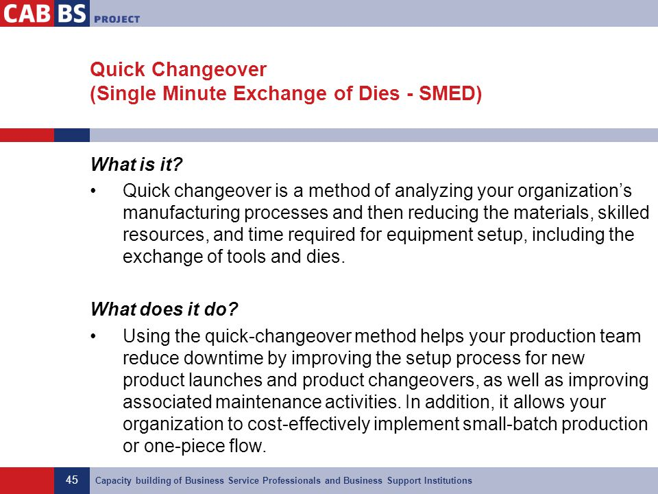 Quick Changeover (Single Minute Exchange of Dies - SMED)