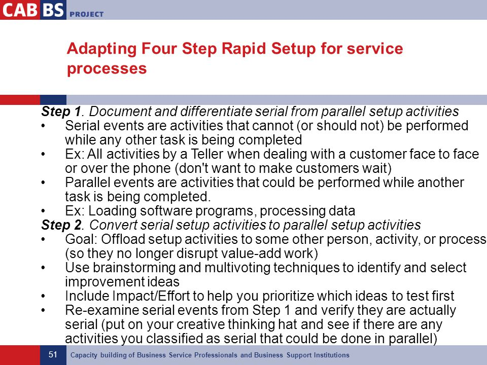 Adapting Four Step Rapid Setup for service processes
