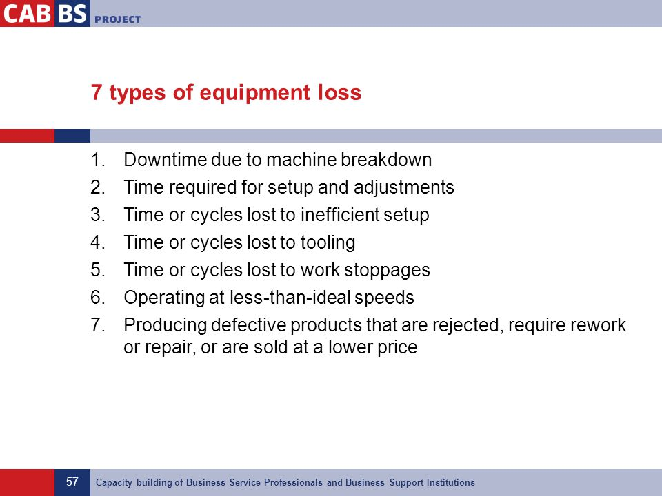 7 types of equipment loss