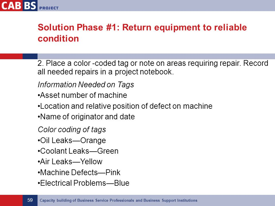Solution Phase #1: Return equipment to reliable condition