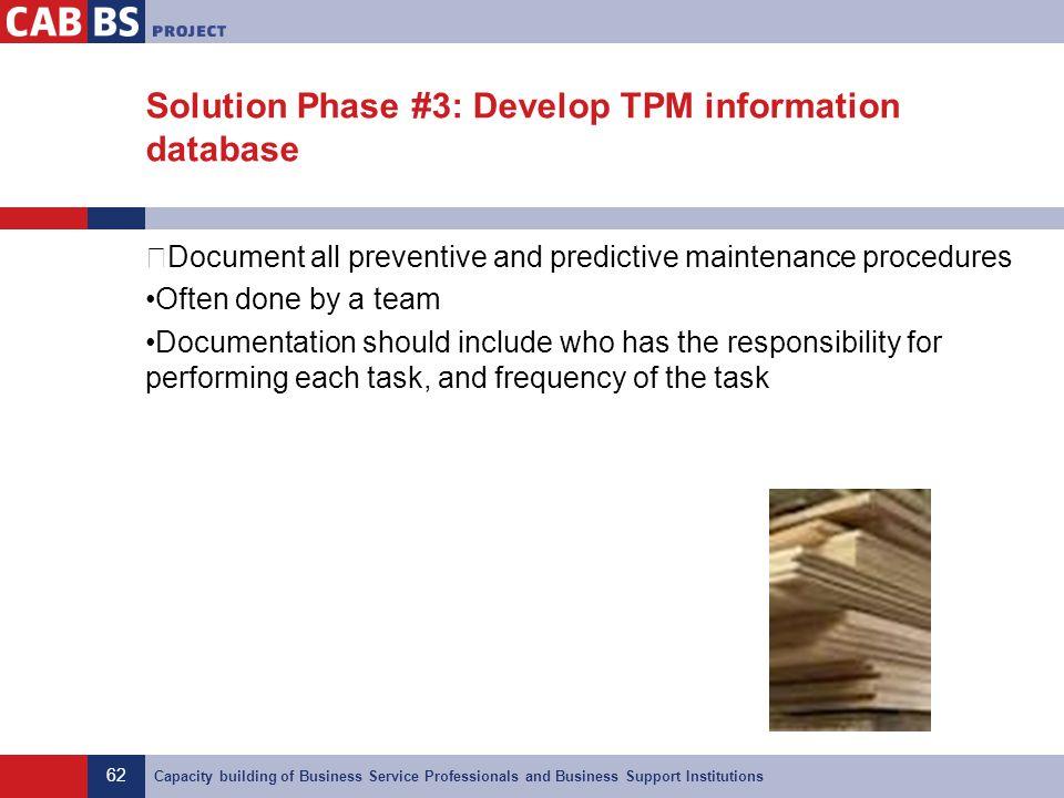Solution Phase #3: Develop TPM information database