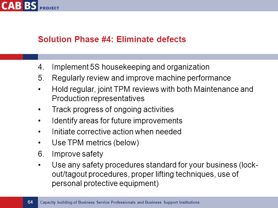 Solution Phase #4: Eliminate defects