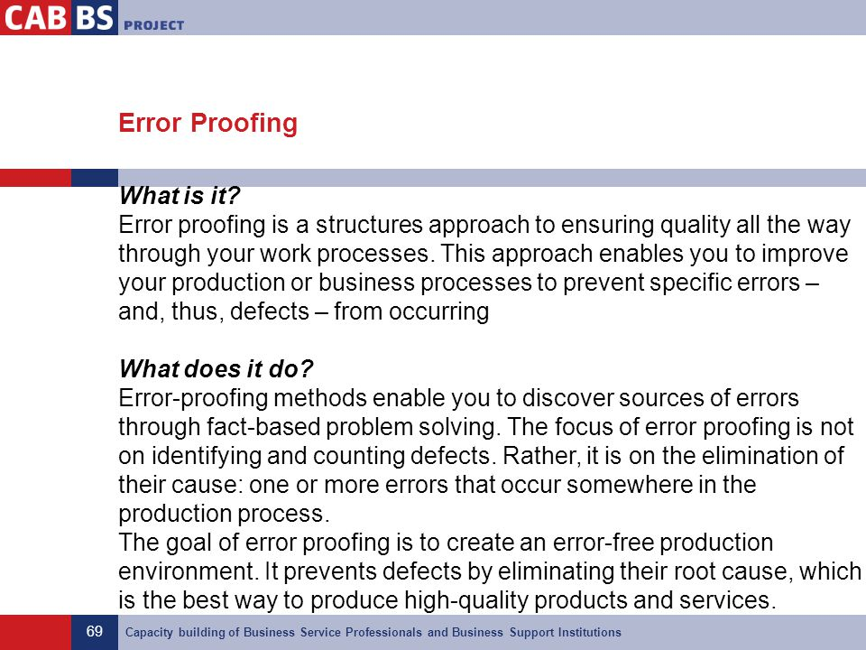 Error Proofing What is it