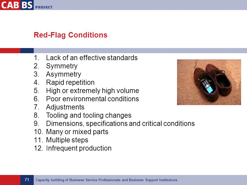 Red-Flag Conditions Lack of an effective standards Symmetry Asymmetry