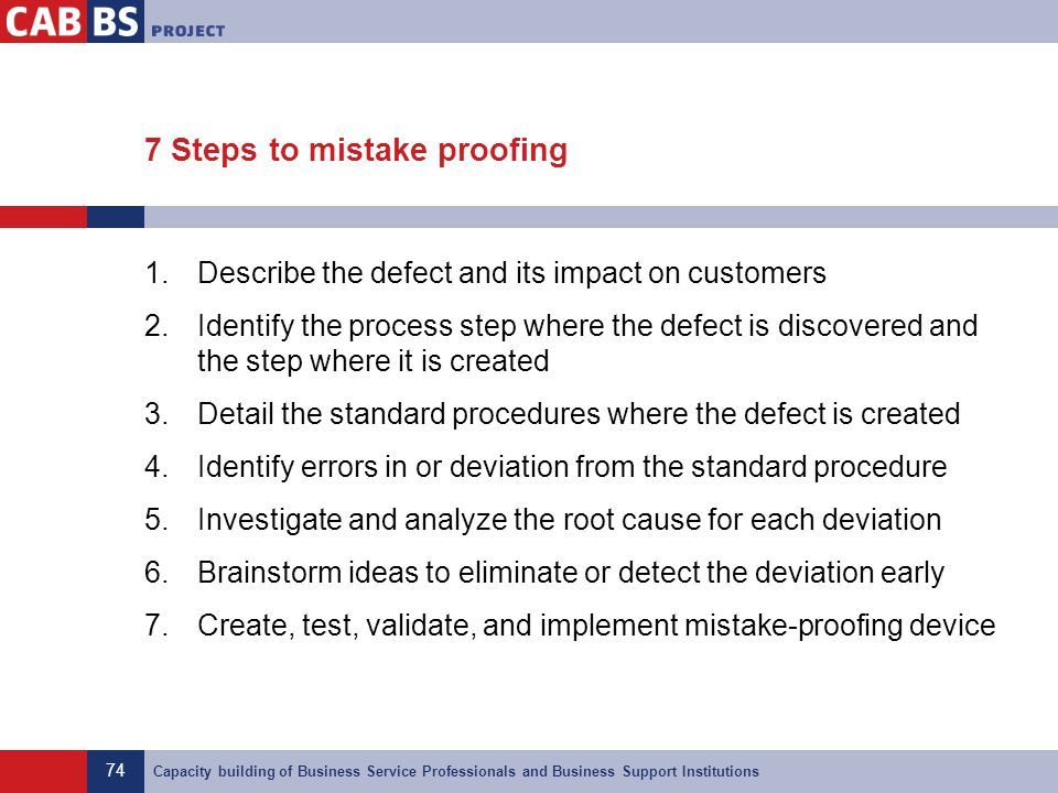 7 Steps to mistake proofing