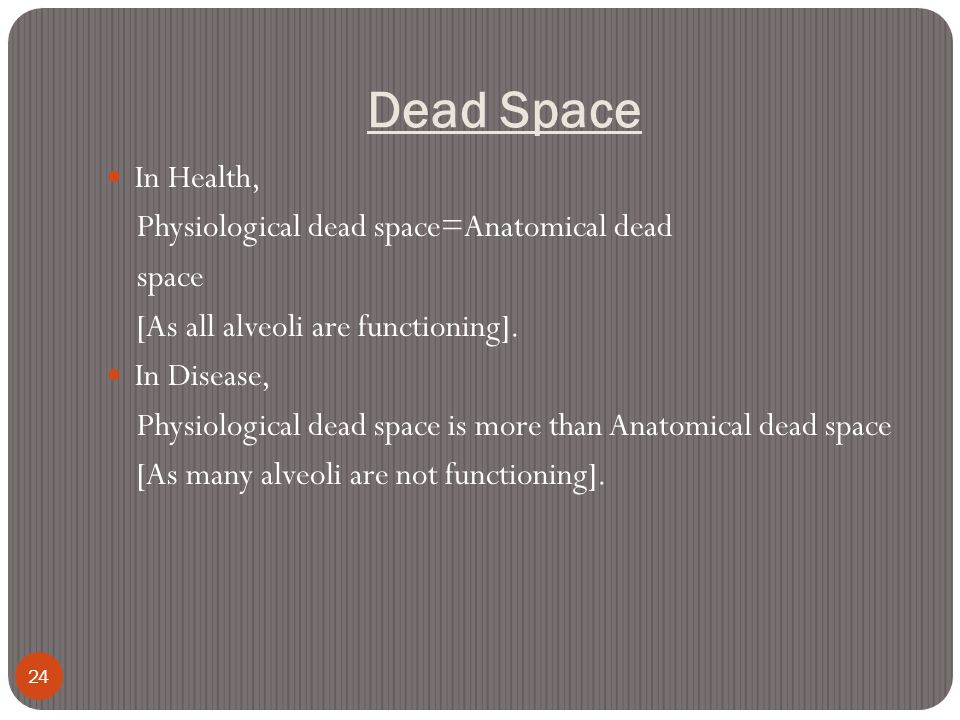 Dead Space In Health, Physiological dead space=Anatomical dead space